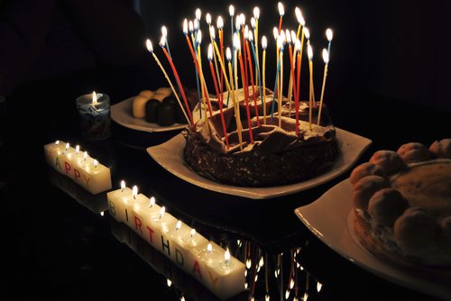 Birthday cake with candles via shutterstock\Santhosh Varghese